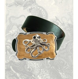 Octopus With Gas Mask Large Belt Buckle Inlaid In Hand Painted Gold Enamel