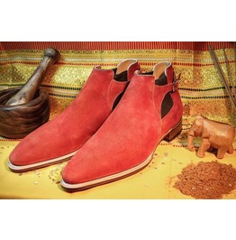 Handmade Men Red Suede Boot, Dress Leather Boot For Men, Ankle High Chelsea