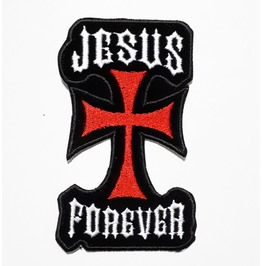 Red Crucifix Jesus Forever Embroidered Iron On Patch.