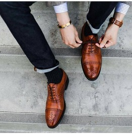 Handmade Men Brown Oxford Formal Shoes Men Brogue Dress Shoes Leather Shoes