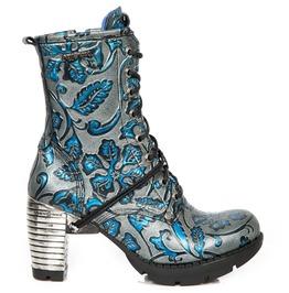 New Rock Shoes Women's Vintage Blue Flower Leather Boots