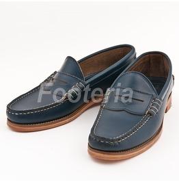 Handmade Men Navy Blue Loafer, Men Leather Slipons, Leather Shoes For Men