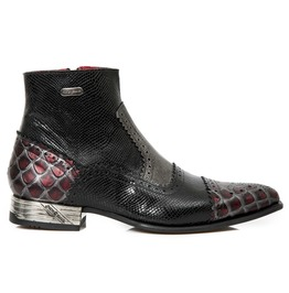 New Rock Shoes Men's Red Wine Leather Shoes