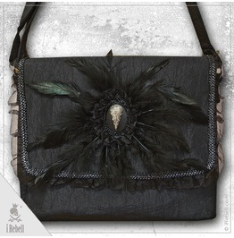 """""""Raven"""" Gothic/Fantasy Style Shoulder Bag With Beautiful Feathers And Raven"""