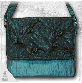 """""""Dark Roses """" Fantasy Style Shoulder Bag With Feathers And Satin Roses"""