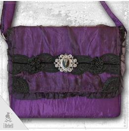 """""""Raven2"""" Gothic/Fantasy Style Shoulder Bag With Beautiful Raven Skull Cameo"""