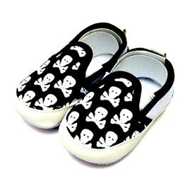 Skull Crossbones Design Baby Trainers Plimsol Velco Shoes 12 To18 Month