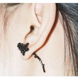 Black Gothic Rose & Stem Stud Earrings