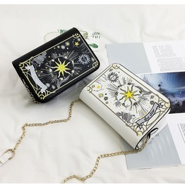 The Star Tarot Shoulder Handbag Purse Black / White Vegan Leather