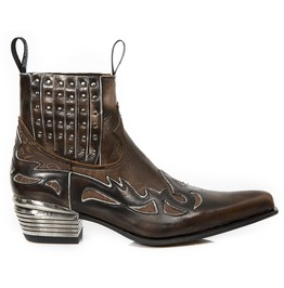 New Rock Shoes Men's Brown Bone Leather Boots