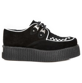 New Rock Shoes Women's Black And White Platform Creepers
