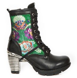 New Rock Shoes Women's Green Floral Black Leather Boots