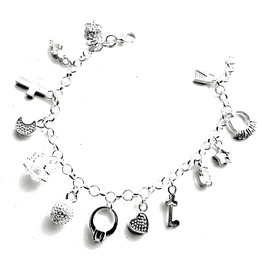 Beautiful Silver Plated Chain Link Bracelet With Variety Of Charms