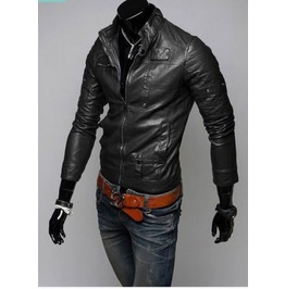 Black Color Leather Jacket Men's, Slim Fit Biker Jacket, Motorcycle Jacket