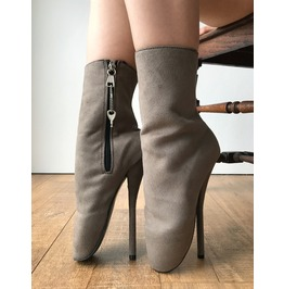 Rtbu Zuri Ballet Stiletto Heel Pointe Lockable Zip Burlesque Gray Suede