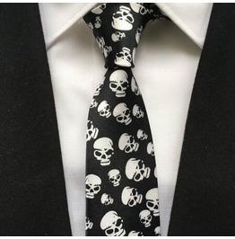 Gothic Punk Men Narrow Ties Fashion Printed Tie Big Skull Mens Accessories