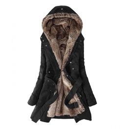 Fur Inside Buckle Sleeve Belt Hooded Oversized Jacket Womens Outerwear
