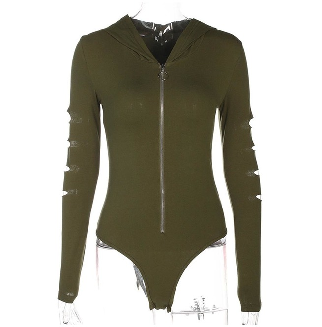 f16fb6af33ed Dark Forest Hollow Out Long Sleeve Zip Up Hooded Romper Womens Top