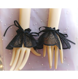 Black Lace Cuffs Gloves , Lace Sleeves , Lace Wrist Bracelet , Fashion Jewe