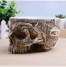 Antique Sculpture Human Skull Garden Flower Container Pot Home Decoration