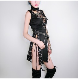 Ring Buckle Belt Hollow Out Lace Up Cross Strap Gothic Mini Womens Dress
