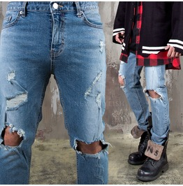 Ripped Knee Distressed Blue Slim Jeans 406