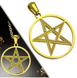 Gold Color Plated Stainless Steel Pentagram Star Circle Charm Pendant