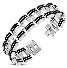 Stainless Steel W Black Rubber 2 Tone Cut Out Geometric Mens Link Bracelet