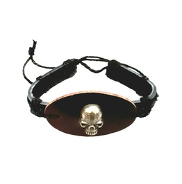 Unique Skull Head Hand Crafted Deep Brown + Black Colour Leather Wristband