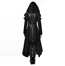 Gothic Hooded Zip Up Patchwork Lace Up Long Coat Hoodie Womens Outerwear