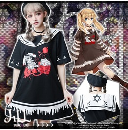Rebelsmarket kawaii anime lunatic rabbit nurse sleevelet sailor collar dress jj2217 dresses 5
