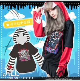 Harajuku Kawaii Cartoon Godzilla Rabbit Dinosaur Glove Sleeve Hoodie Jj2216