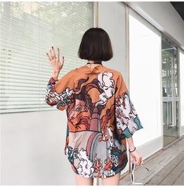 Dark Forest Harajuku Cartoon Oversized Loose Japanese Womens Kimono Top