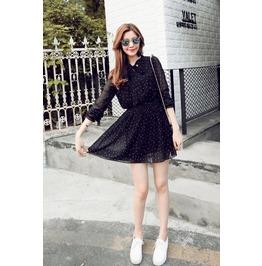 Dark Forest Polka Dot Lolita Harajuku Black Bow Lace Sleeve Womens Dress