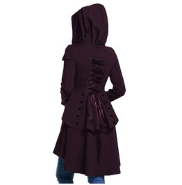 Lace Up Hooded Ruffles Gothic Jacket Coat Womens Outerwear