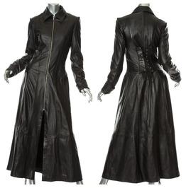 Steampunk Gothic Matrix Coat Black Women Victorian Leather Trench Coat