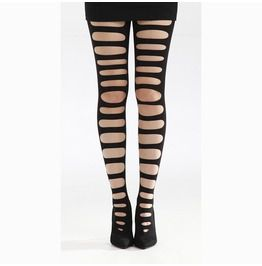 Front Slash Ripped Tights With Gusset