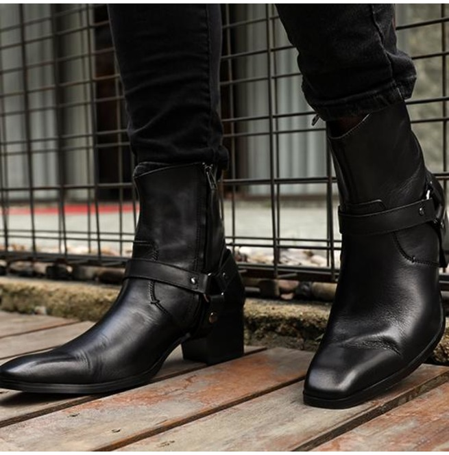 Handmade Mens Black Leather Ankle Boots