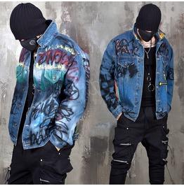 Grunge Color Paint Scribble Denim Jacket 357