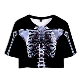 Gothic Illuminate Skeleton Short Sleeves Crop Top