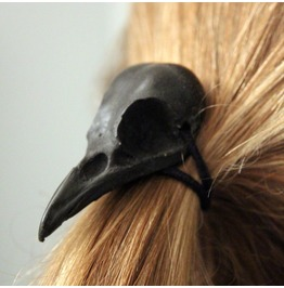 Dark Forest Raven Skull Hair Tail Holder
