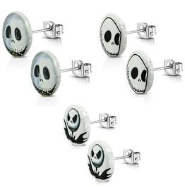 3 Pairs New 10mm Stainless Steel 2 Tone Jack Skellington Stud Earrings Sets