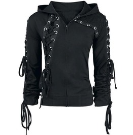 Gothic Short Black Lace Up Hoodie