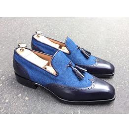 Rebelsmarket handmade loafer shoes bespoke tussle formal leather office shoes denim  dress shoes 3