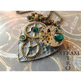 Clockheart Steampunk Emerald Necklace