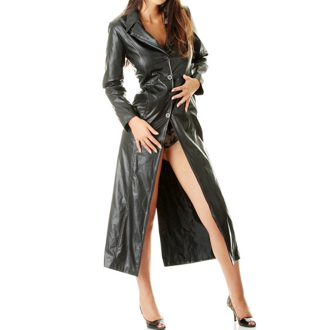 details for find lowest price choose latest Sexy Women Pure Leather Coat Ladies Soft Leather Full Length Trench Coat