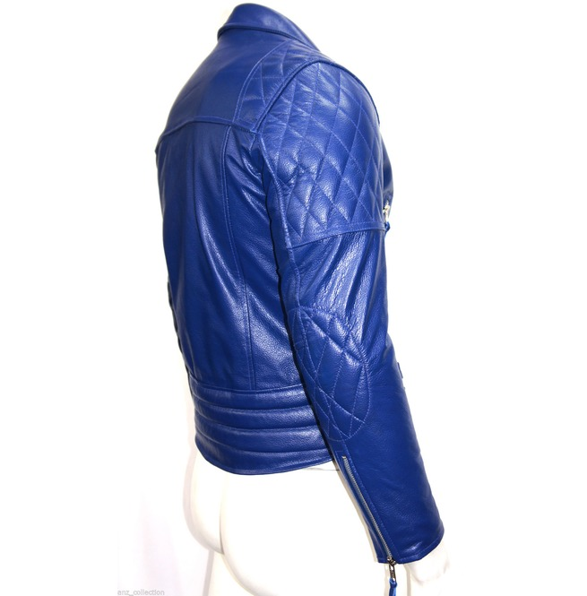 56940793f2f Men Motorcycle Style Leather Jacket Desperado Men s Electric Blue Leather B