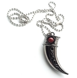 Fierce Sword Tooth Design Black Stainless Steel Titanium Engraved Pendant