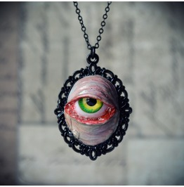 Creepy Morbid Pendant Necklace, Human Eye Replica