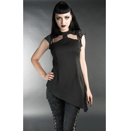 Space Girl Spiked Black Tunic Shirt Studded Gothic Top